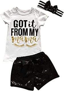 Kids Baby Girls Got It from My Mama Letters Print T-Shirt +Sequins Shorts+Headbands Sets