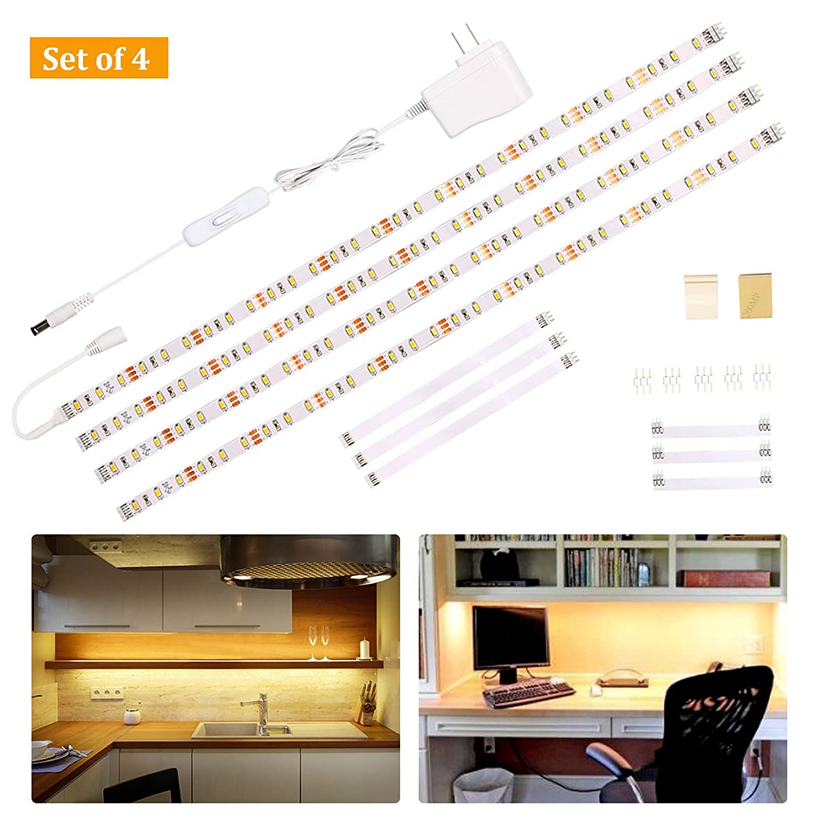 Wobane Under Cabinet Lighting Kit,Flexible LED Strip Lights Bar,Under Counter Lights for Kitchen,Cupboard,Desk,Monitor Back,Shelf,6.6 Feet Tape Light Set,UL Listed,120 LEDs,1100lm,2700K WarmWhite