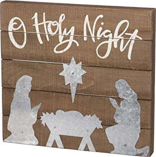 Primitives by Kathy Hand-Lettered Slat Box Sign, O' Holy Night