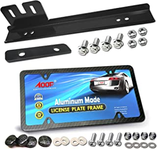 Aootf Bumper License Plate Relocator -Universal Mounting Bracket License Tag Relocation Support Holder Kit License Plate Bracket Holder Bar Adapter + Carbon Fiber License Plate Frame