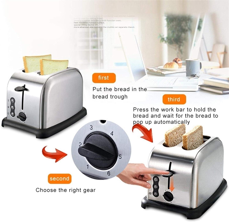 Zhang Xiaoyu Grille-pain de cuisson Machine à pain Petit-déjeuner machine de pain 6 niveaux de bronzage amovible Tiroir ramasse-miettes (Color : Silver) Pink