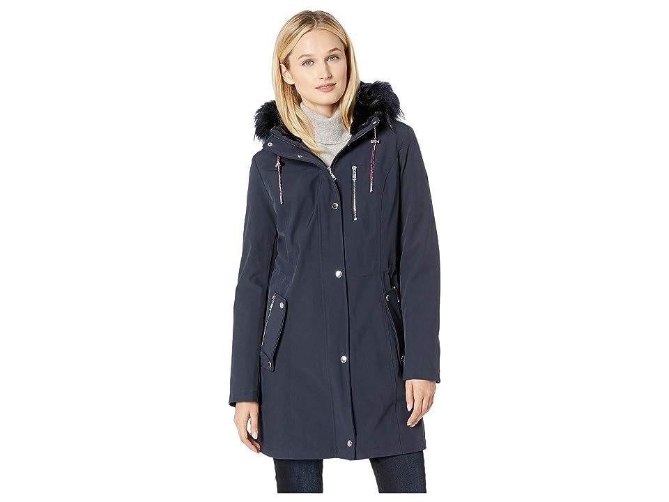 Tommy Hilfiger Softshell Anorak w/ Faux Fur Hood (Navy) Women's Coat