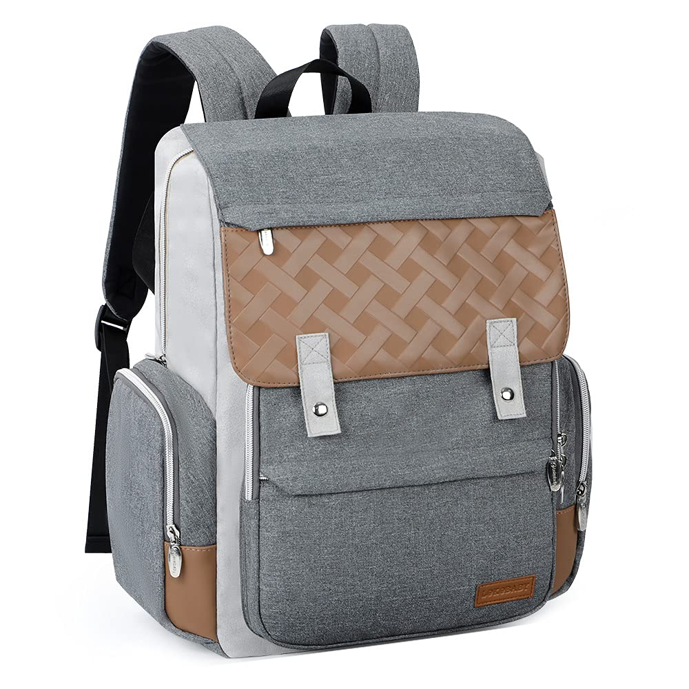 Diaper Bag Backpack, Lekebaby Baby Diaper Bags Multifunction Travel Back Pack with Changing Pad & Stroller Straps, Grey
