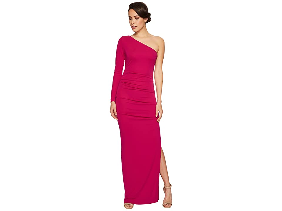 Nicole Miller One Shoulder Gown (Pink Berry) Women