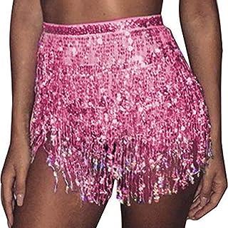 RELBCY Belly Dance Hip Skirt Sequins Fringe Skirt Tassel Hip Scarf Rave Skirt for Women and Girls