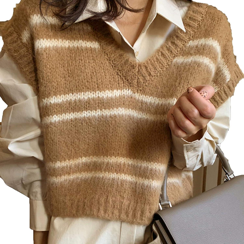 Spring Autumn Women Sweaters V-Neck Pullover Sleeveless Short Vest Waistcoat Striped Wild Lady Tops