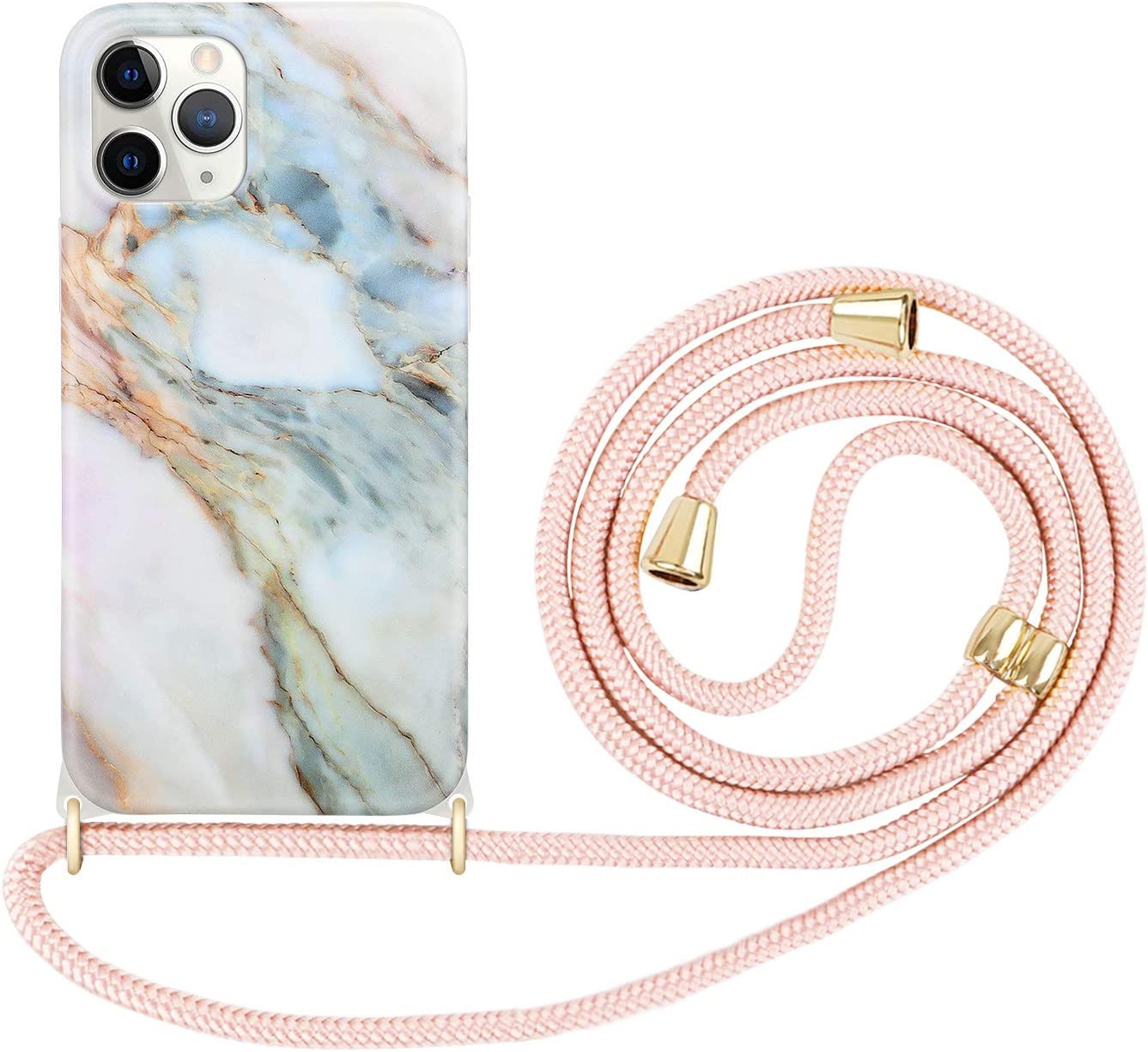 Imikoko Designed for iPhone 12 Pro Max Case, Lanyard Flexible TPU Shockproof Protective Crossbody Case for iPhone 12 Pro Max, 6.7 inch