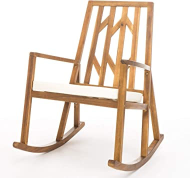 Christopher Knight Home Nuna Outdoor Wood Rocking Chair with Cushion, Teak Finish