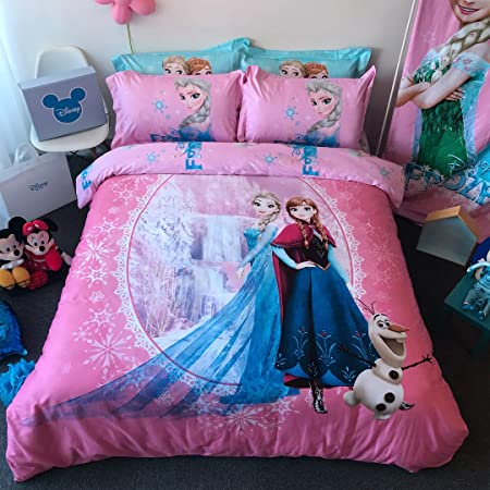 Casa 100 Cotton Kids Bedding Set Girls Frozen Elsa And Anna Duvet Cover And Pillow Cases And Fitted Sheet 4 Pieces Queen Home Kitchen
