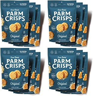 ParmCrisps Original, 1.75 Oz (Pack Of 12), Keto Snack, 100% Parmesan Cheese Crisps, Gluten Free, Sugar Free, Low Carb, Hig...