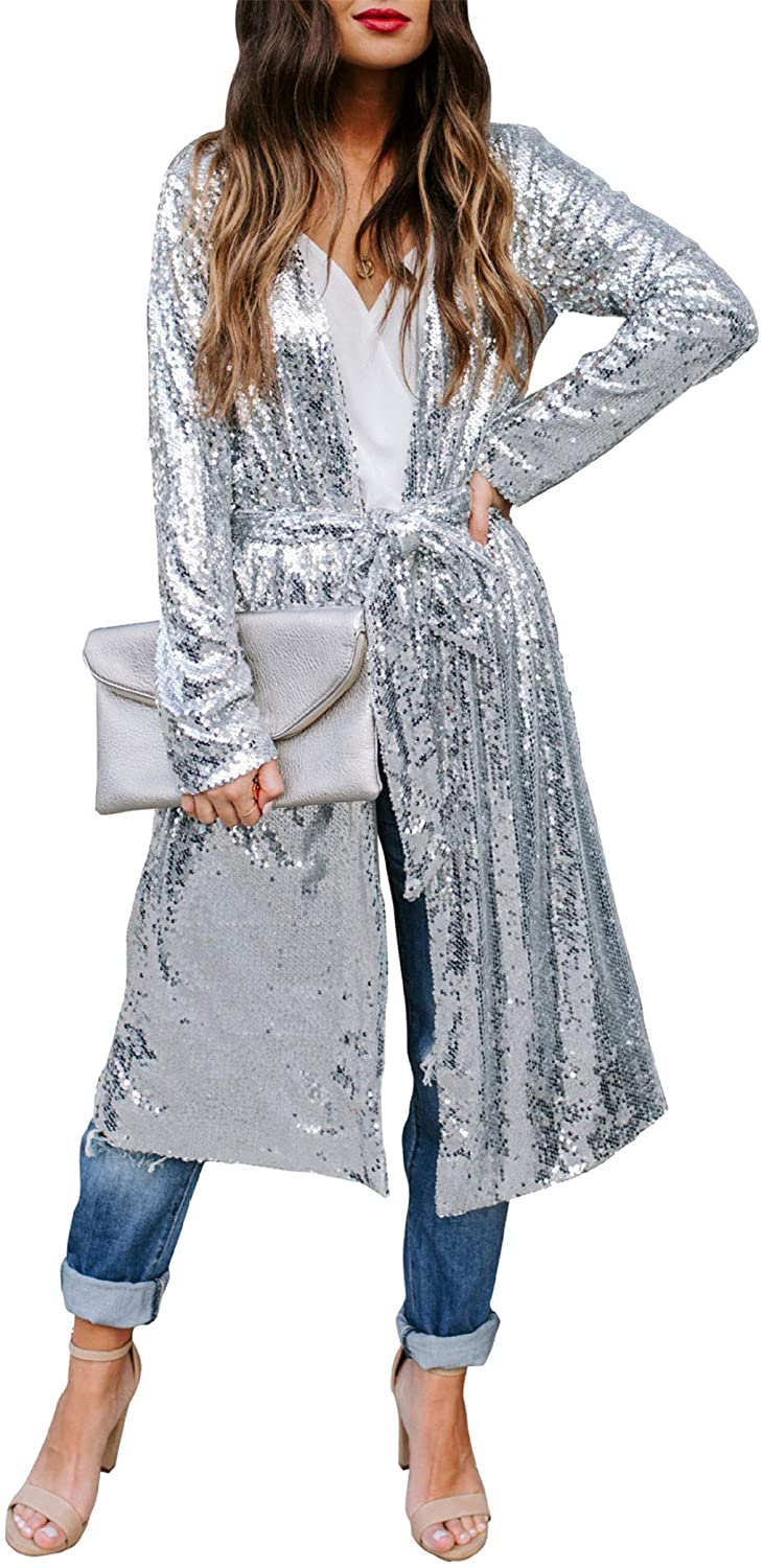 Women Sparkly Sequins Cover Up Cardigans Belt Popular products Coat Glittery with Max 58% OFF