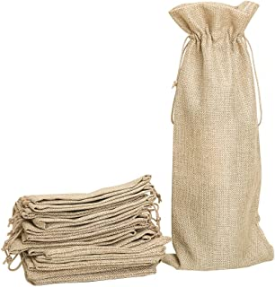Shintop 10pcs Jute Wine Bags, 14 x 6 1/4 inches Hessian Wine Bottle Gift Bags with Drawstring (Brown)