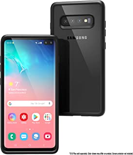 Catalyst Case Compatible with Samsung Galaxy S10+ Case Military Impact Resistant, Shock Proof, Drop Proof 9.9ft, Impact Truss Cushioning System, Raised Bezels, Lanyard, Clear Back - Stealth Black