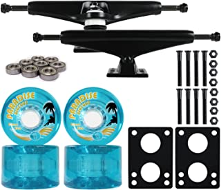Longboard Skateboard Trucks Combo Set 65mm Bigfoot Islanders Wheels with Black Trucks, Bearings, and Hardware Package (65mm Blue Wheels, 6.0 (8.63