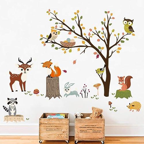 decalmile Stickers Muraux Animaux Forêt Arbre Autocollant Mural Hibou Renard Cerf Décoration Murale Chambre Bébé Pépi...