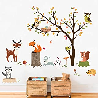 decalmile Animals Tree Wall Decals Owl Fox Deer Wall Stickers Kids Bedroom Baby Nursery Wall Decor