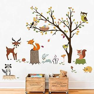 decalmile Stickers Muraux Animaux Forêt Arbre Autocollant Mural Hibou Renard Cerf Décoration Murale Chambre Bébé Pépinière...