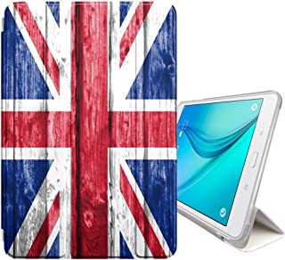 FJCases United Kingdom UK British Wood Pattern Flag Smart Cover Stand + Back Case with Auto Sleep/Wake Function for Samsung Galaxy Tab S2-8.0