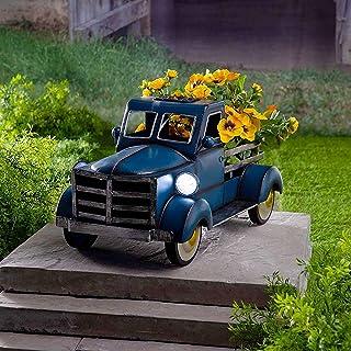 Flower Pot Garden Decoration - Retro Style Solar Pickup Truck Garden Decorative, Vintage Metal Truck Planter, Home Garden ...