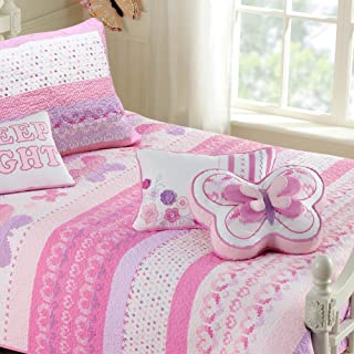 Cozy Line Home Fashions 100% Cotton Lightweight but Warm Pink Butterfly Stripe Hearts Girls Bedding Quilt Set (Pink Butterfly, Full/Queen - 3 Piece)