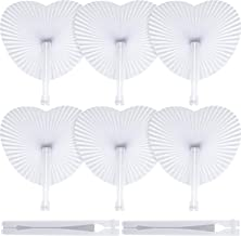 Blulu 60 Pack White Paper Fans Heart Shaped Folding Fan Assortment for Wedding Birthday Party Favor Home Decor Cool Tool
