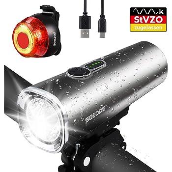 SGODDE Juego de Luces de Bicicleta LED, Lámpara de Bicicleta StVZO ...