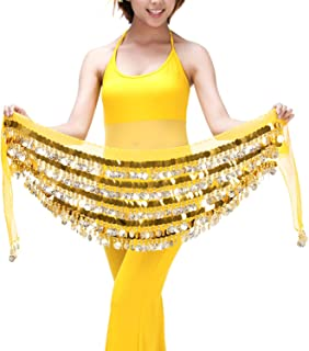 Saymequeen Belly Dance Hip Scarf Multi-Row 228 Gold Coins Dance Waist Chain