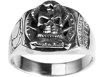 JAJAFOOK Titanio Acciaio Anello Uomo US Marine Corps Insignia Military Gift Veteran Anello Argento//Oro//Nero