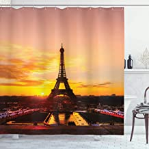 Ambesonne Eiffel Tower Shower Curtain, View of Eiffel Tower at Sunrise Paris Historical Monument Panoramic, Cloth Fabric B...