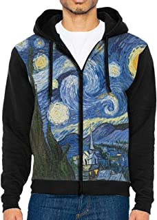 Men Hoodie Vincent Van Gogh Art Oil Painting Starry Night Customized Full Zip with Pocket Jackets