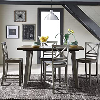 Standard Furniture Fairhaven Counter Height Table and Four Chairs Set, Distressed Reclaimed Oak Plank Top, Grey Base