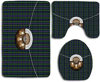 Clan Murray Tartan and Sporran Beautiful Toilet Lid Cover Wood Soft Comfort Washroom Mats,Non-Slip Absorbent Toilet Seat Cover Bath Mat Lid Cover,3pcs/Set Rugs