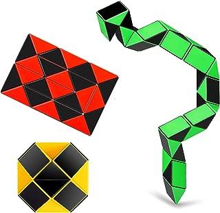 Ganowo 3 PCS Big Size Speed Snake Ruler Cube Puzzle | 24 Wedges Twist Fidget Sensory Toys Party Favors