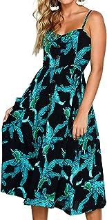 Women's Spaghetti Strap Dress - Holiday Midi Button Decoration Knee Length Printed Floral Swing Boho Dresses