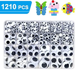 1210pcs Googly Wiggle Eyes Self Adhesive, for Craft Sticker Multi Sizes 4mm to 25mm for DIY by ZZYI
