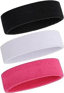 ONUPGO Sweatband Headbands/Wristbands for Men & Women - 3PCS/6PCS/12PCS Sports Headbands Moisture Wicking Athletic Cotton Terry Cloth Wristbands Head Band