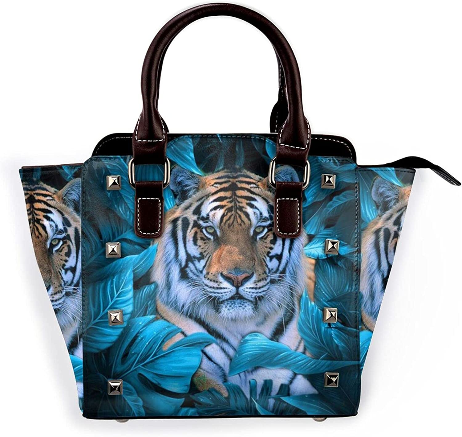 African Wildlife Tiger Womens Leather Rivet Unique Bag Shoulder Discount is also underway Sale Special Price