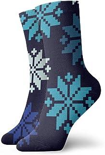 Pengyong, Pengyong - Calcetines Deportivos para Hombre y Mujer con diseño de Copo de Nieve, Transpirables, Transpirables, para Correr, Entrenar y Caminar