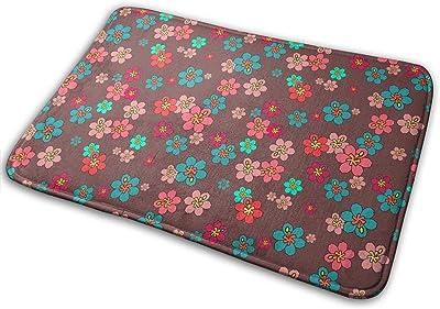 Retro Hibiscus Tropical Floral Carpet Non-Slip Welcome Front Doormat Entryway Carpet Washable Outdoor Indoor Mat Room Rug 15.7 X 23.6 inch