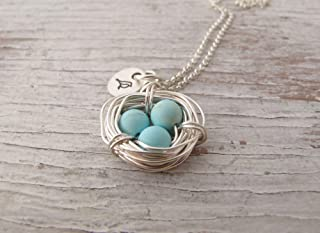 Mother's Necklace, Three Children, Personalized Jewelry, Silver Bird Nest, Wire Wrapped, Robin Egg Necklace, Mama Bird