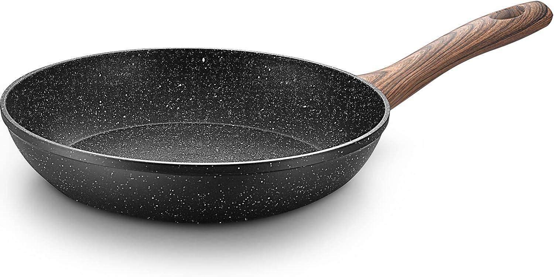 "HanverKook Nonstick Skillet , ,PFOA free stone coating ,Induction 9.5"", Black"