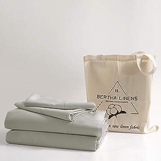 100% Organic Cotton Full Sheet Set Light Gray | Percale Weave | 4 Piece | 300 Thread Count | GOTS Certified | Cool Crisp B...