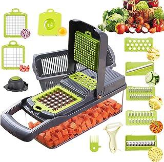 Mandoline Cuisine Multifonction Couper les Legumes 11 en 1, Trancheur de Légumes, Hachoir de Graterie de Cuisine Multifonc...