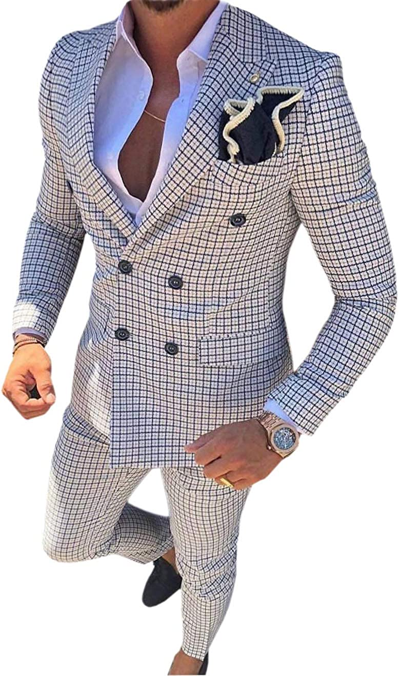Men's 2 Pieces Casual Double Breasted Fashion Mens Suit Slim Fit Plaid Tuxedos for Wedding Groomsmen(Blazer+Pant)