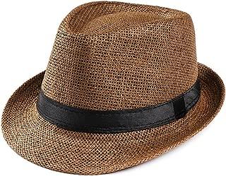 hositor Sun Hat, Unisex Trilby Gangster Cap Beach Sun Straw Hat Band Sunhat