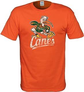 Premier Sports Fan Miami Hurricanes T Shirt with Distressed Vintage Sebastian Canes Logo