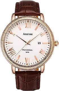 Ananke Dressy 皮革防水石英手表男式经典模拟罗马数字日期表盘