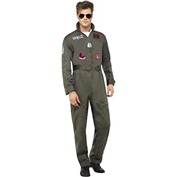 Adult Top Gun Deluxe Pilot Aviator 80s Mens Womens Fancy Dress Costume Specs