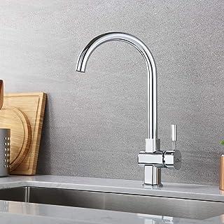 Auralum Küchenarmatur Mischbatterie Spültischarmatur, Hochdruck Wasserhahn aus Edelstahl für Küche, 360 ° drehbarer einhebel-waschtischmischer Chrom