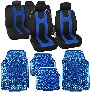 Black & Blue Rome Sport Stripe Seat Covers w/ Shiny Metallic Floor Mats for Car Truck SUV